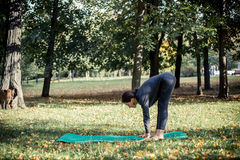 Woman doing yoga in park. Beautiful woman doing yoga in park Royalty Free Stock Images