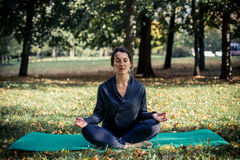 Woman doing yoga in park. Beautiful woman doing yoga in park Royalty Free Stock Photo