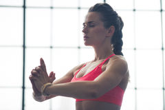 Woman doing yoga pose upper body only Royalty Free Stock Image