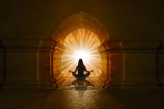 Woman doing yoga positions and meditating. Woman doing yoga positions and doing meditation and concentration royalty free stock photography