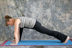 Woman doing Yoga posture lunge pose. Young woman on yoga mat doing Yoga posture lunge pose against a grey background in profile, facing left lit by diffused stock photos