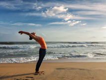 Woman doing yoga Sun salutation Surya Namaskar Royalty Free Stock Images