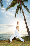 Woman Doing Yoga at Sunset Stock Images