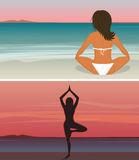 Woman is doing yoga on the sunset beach Royalty Free Stock Images
