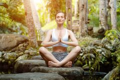 Woman doing yoga in the tropical jungle royalty free stock images
