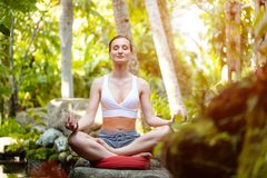 Woman doing yoga in the tropical jungle stock images
