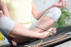 Woman doing yoga Stock Images