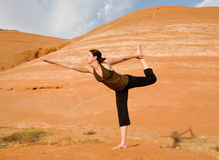 Woman Doing Yoga in Wilderness Royalty Free Stock Photo
