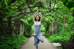 Woman doing youga in park Stock Photography
