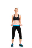 Woman doing zumba workout. On white background Stock Images