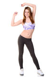 Woman doing zumba workout. On white background Royalty Free Stock Photography
