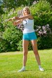 Woman doinng pilates exercises Stock Photo