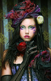 Woman in doll style. Creative make-up. Royalty Free Stock Photos