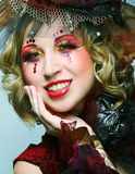 Woman in doll style. Creative make-up. Stock Photos