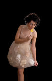 Woman in doll style with lollipop Stock Photography