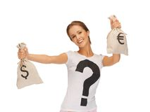 Woman with dollar and euro signed bags Stock Image