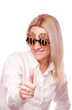 Woman with Dollar sign sunglasses, showing thumbs up Royalty Free Stock Photo