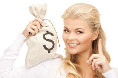 Woman with dollar signed bag Stock Photo