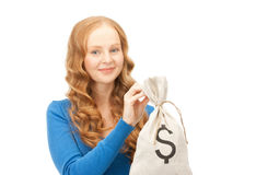 Woman with dollar signed bag Royalty Free Stock Photo