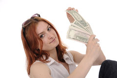 Woman with dollars. Woman with fan of dollars isolated on white Royalty Free Stock Photo