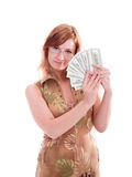 Woman with dollars Stock Image