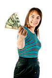 Woman with dollars Stock Photo
