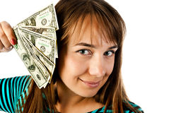 Woman with dollars Stock Photography