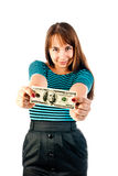 Woman with dollars Royalty Free Stock Images