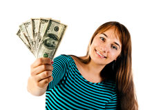 Woman with dollars Royalty Free Stock Photos