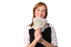 Woman with Dollars. Business woman holdin dollars in her hands Royalty Free Stock Photo