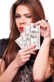 Woman with Dollars winking Stock Images