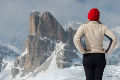 Woman on dolomites in winter Stock Photo