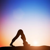 Woman in dolphin yoga pose meditating at sunset. Zen Royalty Free Stock Images