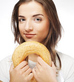Woman with donut Royalty Free Stock Photo