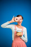 Woman with donuts. Stock Photo