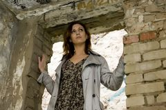 Woman In the Door royalty free stock photography