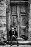 Woman at door Royalty Free Stock Images