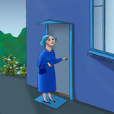 Woman by the door. Bitmap illustration of a woman standing by the door of a house Royalty Free Stock Photo