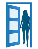 Woman on door, waiting for... Stock Images