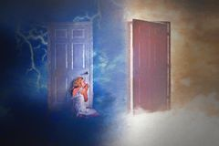 Woman at door. Woman sitting at the bottom of a door listening royalty free illustration