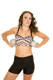 Woman dot sports bra weights under arms Royalty Free Stock Photography