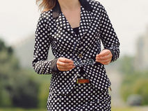 Woman in Dot Suit Royalty Free Stock Photo