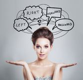 Woman with doubt and choice concept. Planning and Strategy Concept Stock Photo