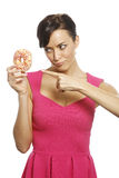 Woman with doughnut Stock Photos