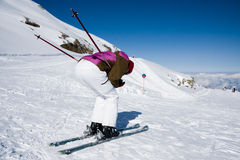 Woman downhill ski in apls Royalty Free Stock Image