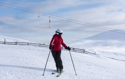 Woman downhill skiing in Lapland Finland Royalty Free Stock Photos