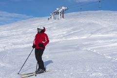 Woman downhill skiing in Lapland Finland Stock Photography