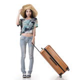 Woman drag a luggage Royalty Free Stock Image