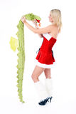 Woman with dragon. Beautiful blonde christmas woman posing with dragon wearing red dress and white fluffy gaiters  on white background Royalty Free Stock Photos