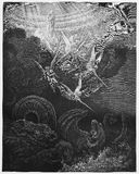 The Woman and Dragon. Picture from The Holy Scriptures, Old and New Testaments books collection published in 1885, Stuttgart-Germany. Drawings by Gustave Dore stock illustration